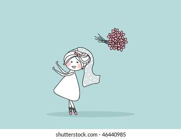 wedding set - bride tossing bouquet behind her