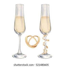 Wedding set. Champagne and rings. Watercolor illustration. Handmade drawing. For registration of festive cards, invitations, posters, cards.