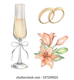 Wedding set with roses, champagne and rings. Isolated on white. Perfect for design cards and invitations. Watercolor illustration. Hand-drawing
