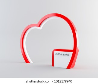 Wedding valentine themed heart shaped arc mock up. It used to wedding or party kiosks. Side view with clipping path. 3d rendering