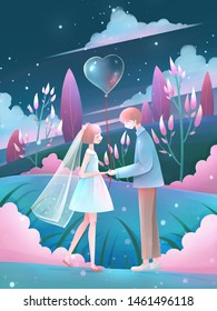 Wedding of Young couple in the fantasy world illustration