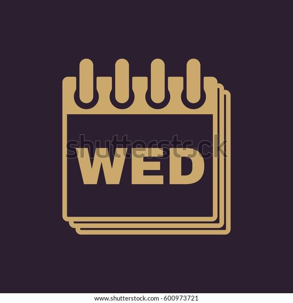 Wednesday icon. Wed and calendar, data symbol. Flat design. Stock -  illustration