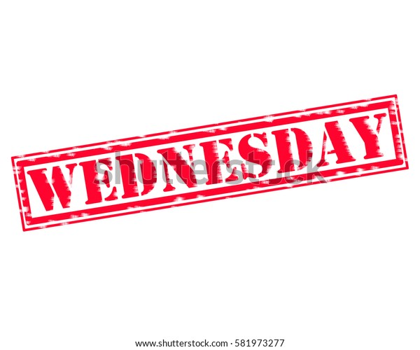 WEDNESDAY RED Stamp Text on white backgroud