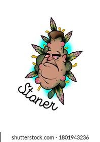 """weed head illustration with """"Stoner"""" lettering for postcards and stickers"""
