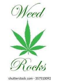 A weed rocks marijuana leaf illustration for your design needs