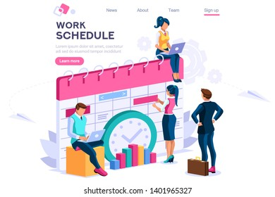 Week schedule, daily plan, work organizer. People and text, characters concept for web banner, infographics, hero images. Flat isometric illustration isolated on white background
