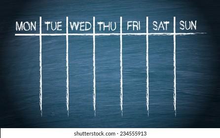 Weekly Calendar on blue chalkboard