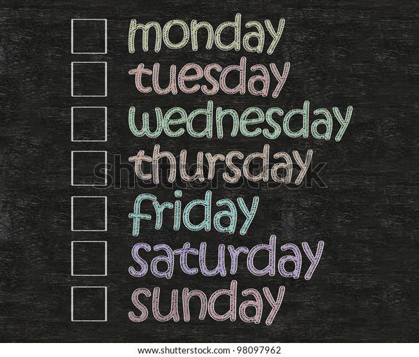 weekly days plan with box written on blackboard background
