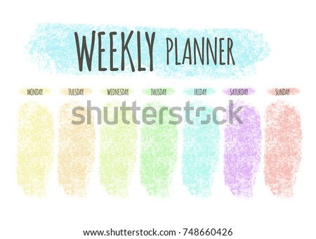 weekly planner horizontal blank form format a4 cute page for notes notebooks