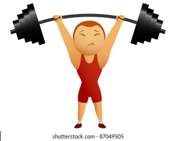 Weightlifter lift up the rod. Vector available.
