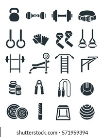 Weightlifting flat  icons set. Bodybuilding exercises equipment pictograms. Weight lifting training objects. Powerlifting gym workout elements. Healthy lifestyle and physical activity symbols