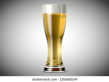 A weizen shaped beer glass filled with beer and a head of foam on an isolated white background - 3D renders