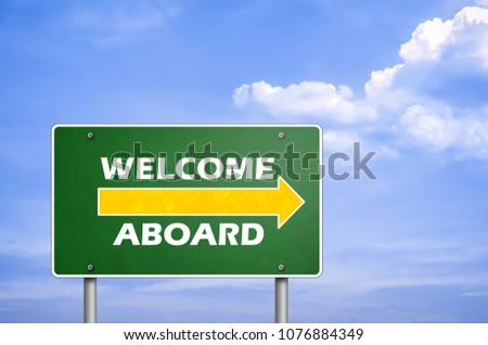 Welcome aboard road sign greetings stock illustration 1076884349 welcome aboard road sign greetings m4hsunfo