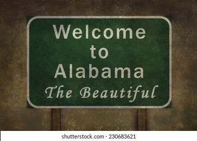Welcome to Alabama the beautiful roadside sign illustration, with distressed ominous background