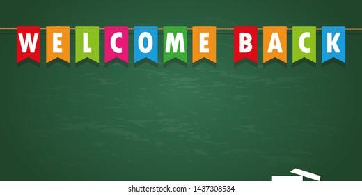 welcome back party flag banner on school black board background  illustration
