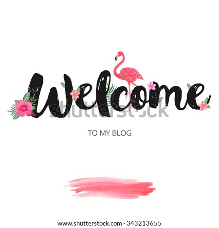 Welcome banner design hand drawn watercolor stock illustration welcome banner design with hand drawn watercolor flowers blog header template maxwellsz