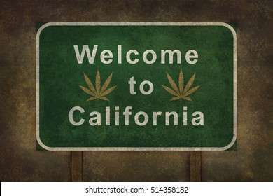Welcome to California with cannabis leaf symbol road sign illustration, with distressed foreboding background