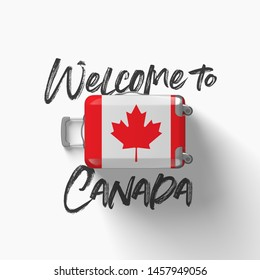Welcome to Canada. national flag on a travel suitcase. 3D Render