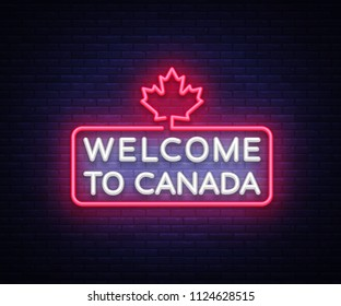 Welcome to Canada Neon Sign . Welcome to Canada symbol banner light, bright night Illustration. illustration.