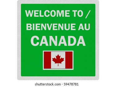 Welcome to Canada photo realistic sign (bilingual French / English), isolated on a pure white background