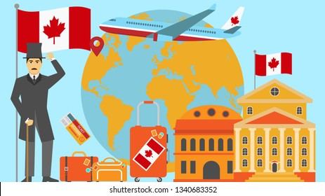 Welcome to Canada postcard. Travel and safari concept of Europe world map  illustration with national flag