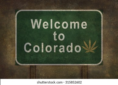 Welcome to Colorado (with cannabis leaf symbol) road sign illustration, with distressed foreboding background