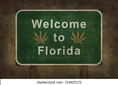 Welcome to Florida with cannabis leaf road sign illustration, with distressed foreboding background