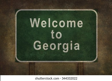 Welcome to Georgia roadside sign illustration with distressed ominous background