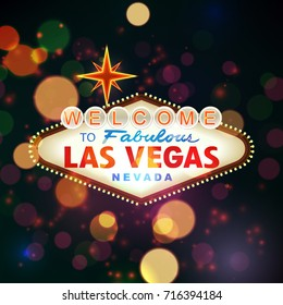 Welcome to Las Vegas Sign with Bokeh Background. illustration