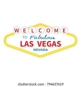 Welcome to Las Vegas sign icon. Classic retro symbol. Nevada sight showplace. Flat design. White background. Isolated.