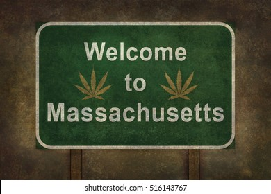 Welcome to Massachusetts with cannabis leaf road sign illustration, with distressed foreboding background