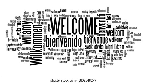 Welcome message sign. International welcome sign in many languages including English, German, Spanish and French.