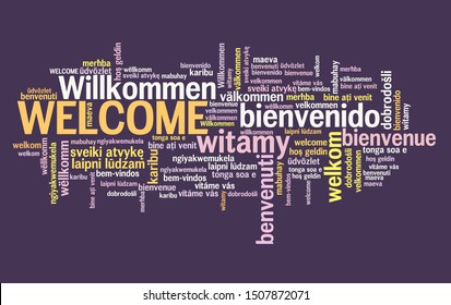 Welcome message sign. International welcome sign in multiple languages including English, German, Spanish and French.