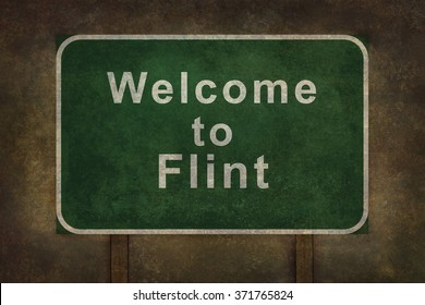 Welcome to Michigan road sign illustration, with distressed Ominous background