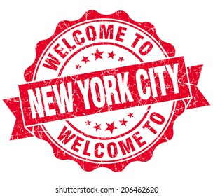 welcome to New York City red vintage isolated seal