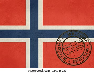 Welcome To Norway Flag With Passport Stamp