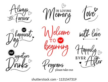 Welcome to our beginning. Always and forever. Happily ever after. Wedding typography design. Groom and bride marriage quote with heart. Lettering phrase. Calligraphy for couple. Love phrase.