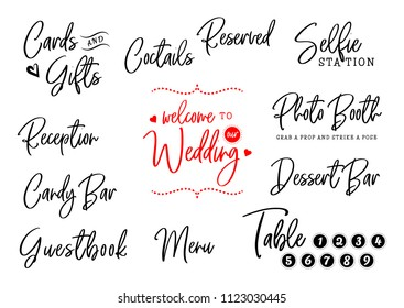 Welcome to our wedding. Cards, gifts, reception, candy bar, guestbook, menu, table, selfie station, photo booth. Wedding typography design. Groom and bride marriage quote with heart. Lettering phrase.