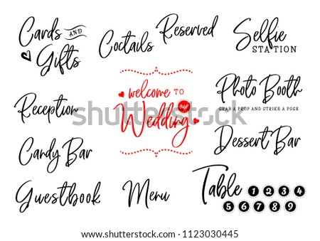 Welcome Our Wedding Cards Gifts Reception Stock Illustration