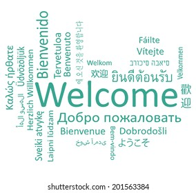 Welcome phrase in different languages. Word cloud concept.
