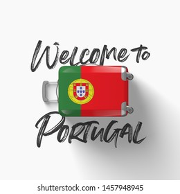 Welcome to Portugal. national flag on a travel suitcase. 3D Render
