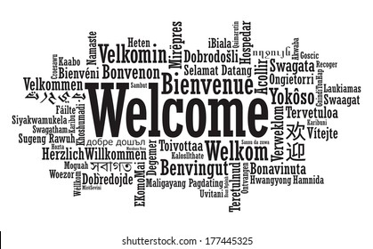 Welcome Tag Cloud illustration in raster format