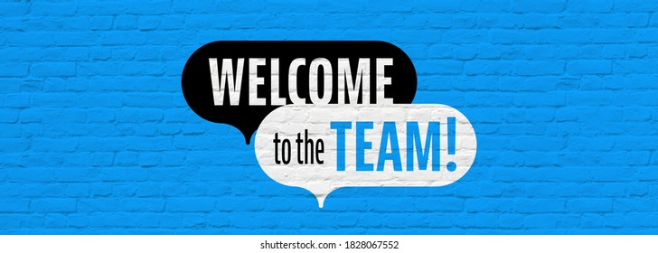 Welcome to the team on blue background