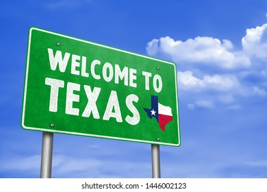 WELCOME TO TEXAS - traffic sign message as 3D-Illustration
