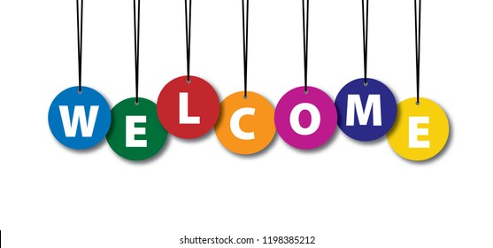 Welcome text background with many falling tiny colored confetti pieces vector icon symbol sign banner wallpaper welcome home welcome signs card postcard celebration vintage fun funny banner happy
