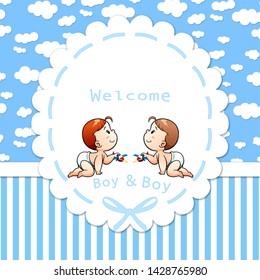 Welcome Twins Boy Background Walpaper