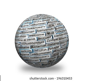 welcome Word Cloud in different   languages  on 3d sphere