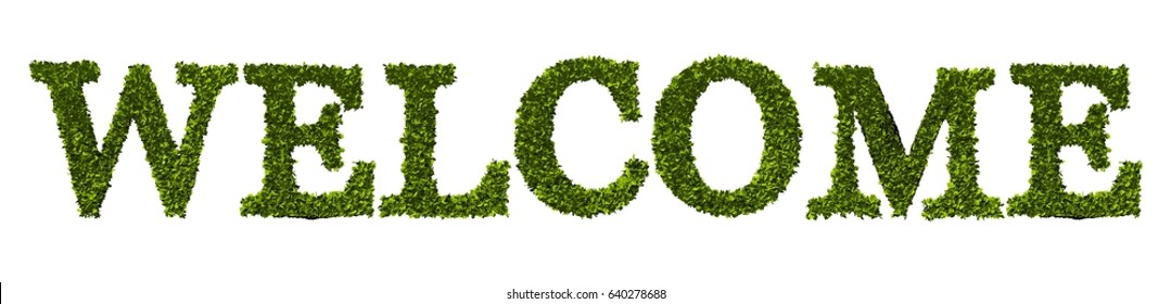 Welcome word written in a nature leaf font. 3D rendering