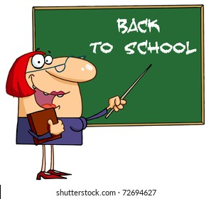 Welcoming Female Teacher Pointing To A Back To School Chalkboard