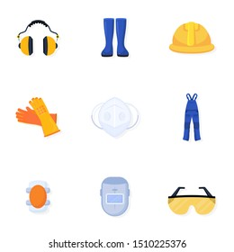 Welder uniform illustrations collection. Worker, builder safety equipment. Handyman blue overall. Welding helmet and glasses. Protective gear, wear, gloves isolated design element. Raster copy